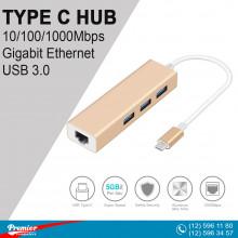 Converter 4in1 TYPE-C  to USB2.0x3/RJ-45 10sm