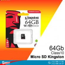 Micro SD Kingston 64 Gb Class10 UHS-I 80MB/s  (R) + SD Adapret