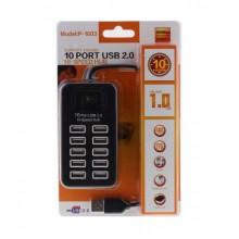 10-Port USB 2.0 Hub - P-1603, 10*USB, Black