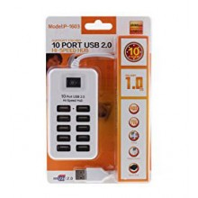 10-Port USB 2.0 Hub - P-1603, 10*USB, White