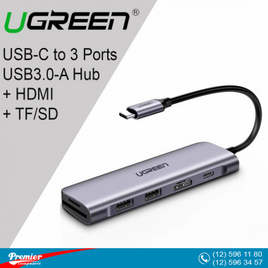 UGREEN USB-C to 3 Ports USB3.0-A Hub + HDMI + TF/SD (Space Gray) - 70410