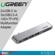 UGREEN 2xUSB-C to 3xUSB3.0-A+SD+TF+PD Multifunction Adapter Aluminum Shell