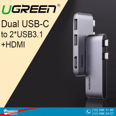UGREEN Dual USB-C to 2*USB3.1+HDMI
